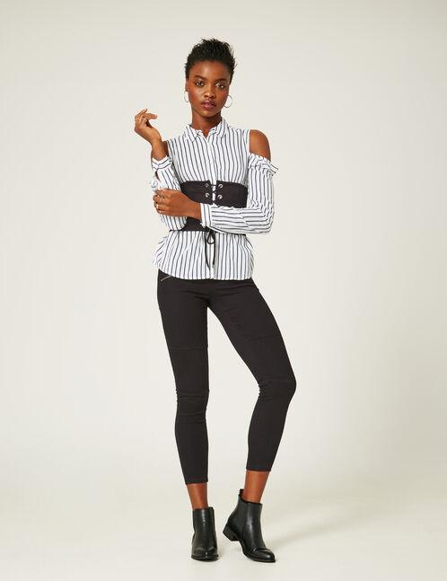 pantalon skinny à découpes noir