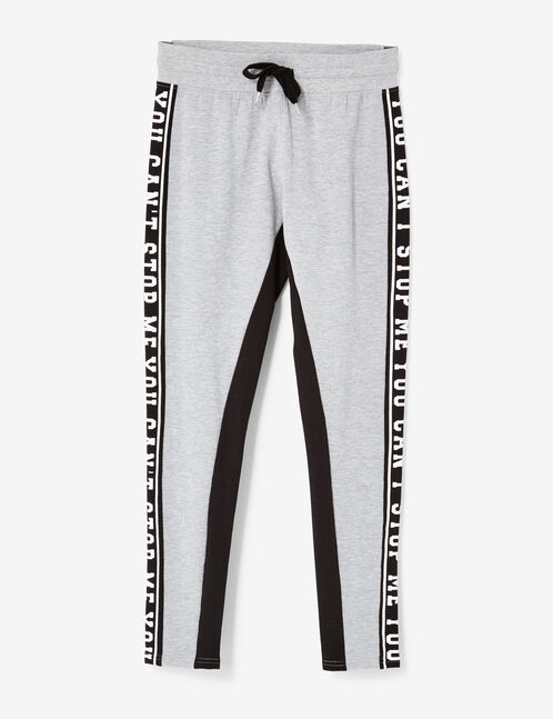 Grey marl two-tone joggers with text design detail