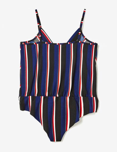 body cache-coeur rayé bleu marine, noir, blanc et rouge