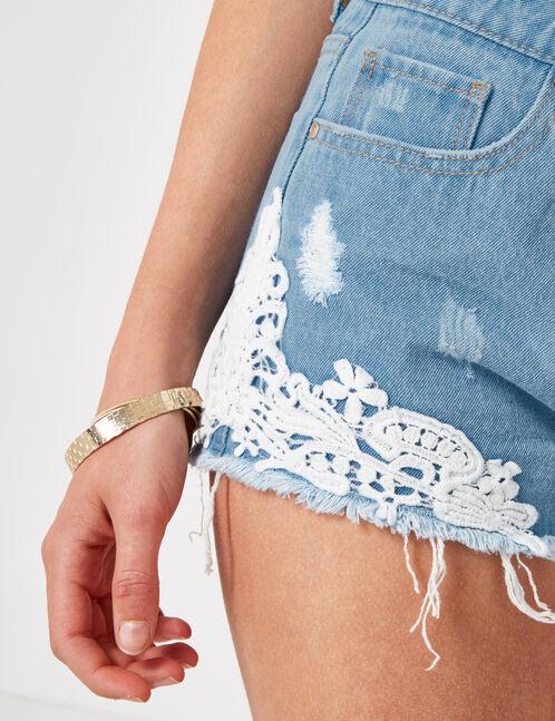 Light blue denim shorts with lace detail