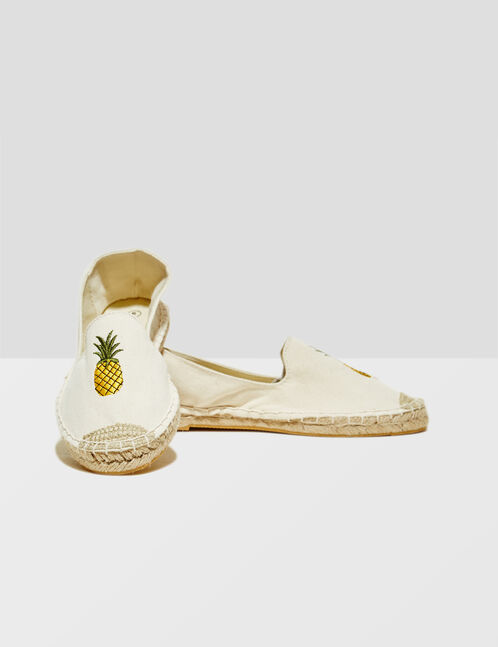 Cream pineapple espadrilles