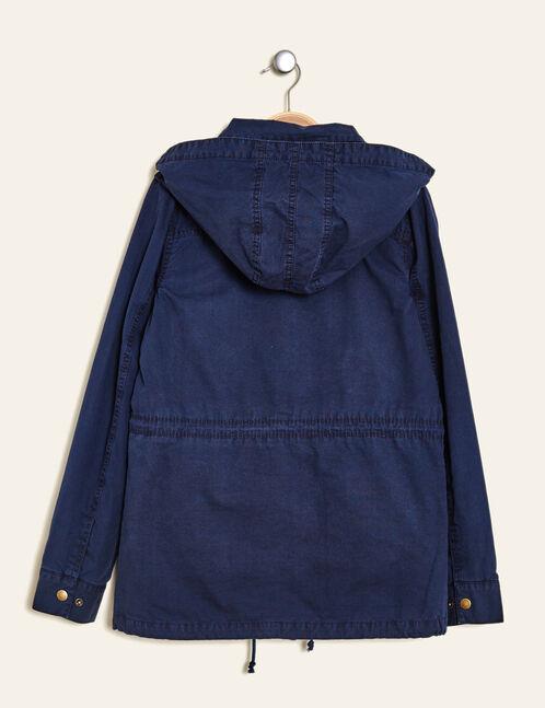 parka légère à capuche bleu marine