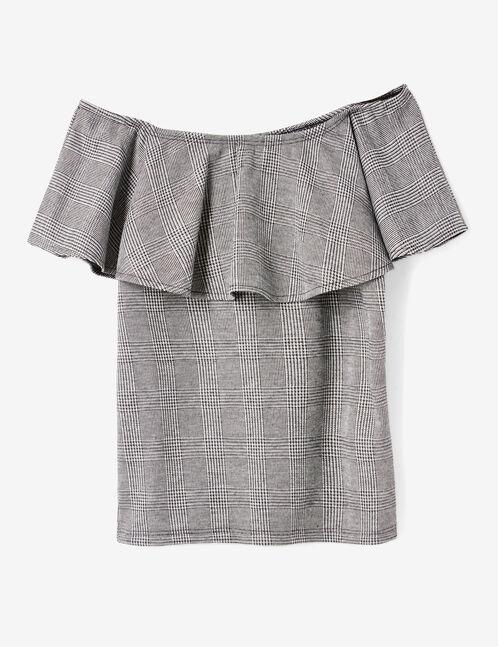 Grey off-the-shoulder top