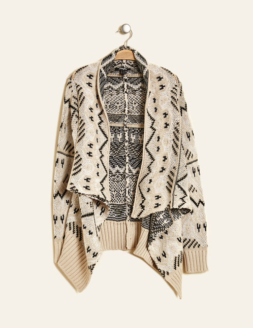 Grey and beige open-front cardigan