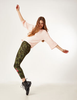 pantalon camouflage brodé kaki