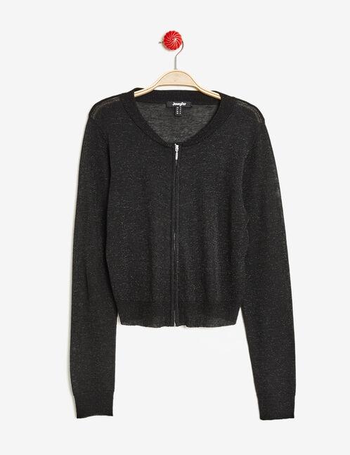 Black zipped cardigan with lurex detail