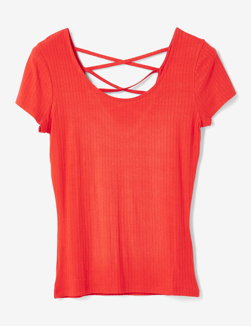 Red deep-back top with strap detail