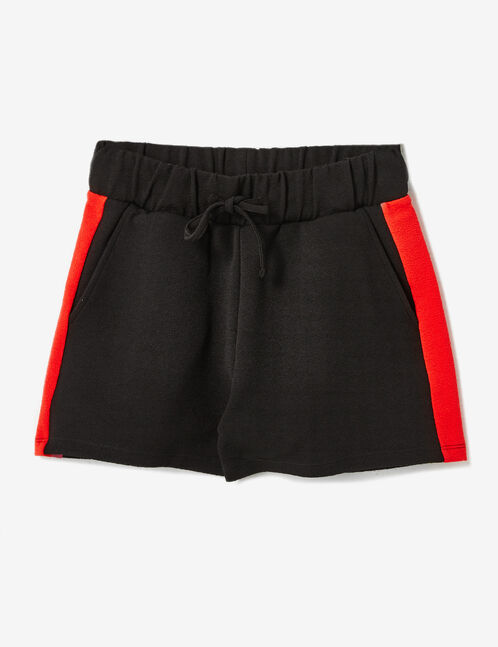 Black and red shorts with side stripe detail