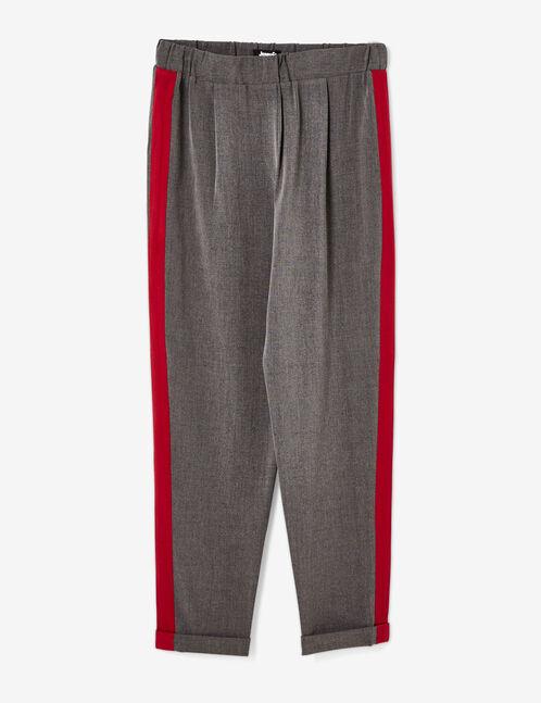 pantalon ville avec bandes gris anthracite et bordeaux