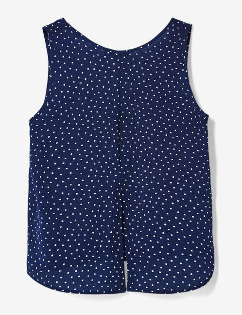 Navy blue polka dot print blouse