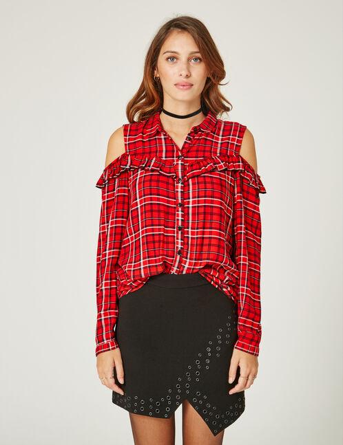 Red and black cold shoulder shirt