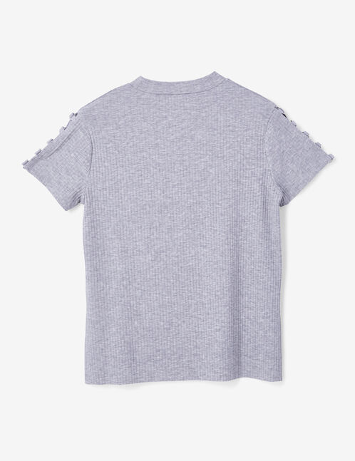 Grey marl T-shirt with ring detail