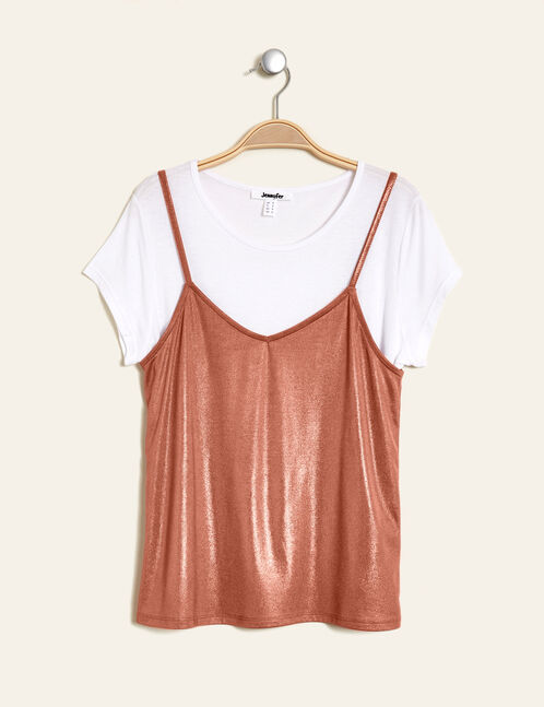 White top with a light pink tank top overlay