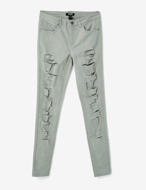 pantalon skinny destroy vert d'eau