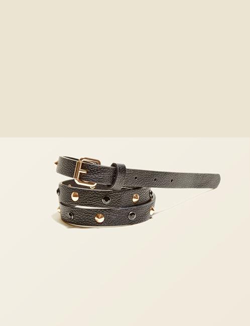 ceinture clous et strass noire