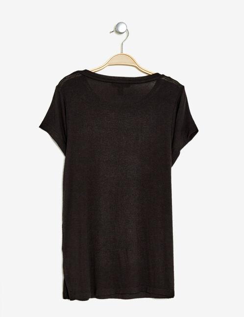 tee-shirt imprimé brillant noir