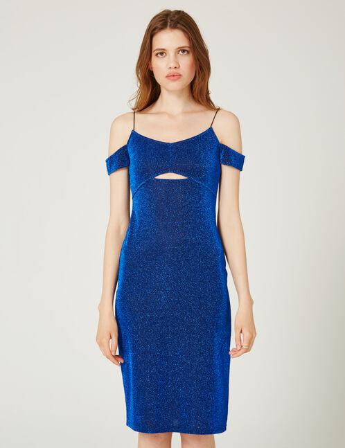 robe ajustée en lurex bleue