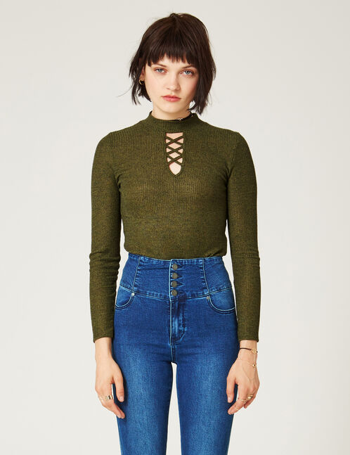 Khaki marl top with cut-out detail