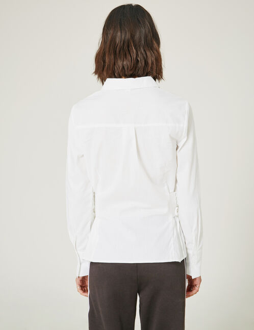 Cream shirt with side lacing detail