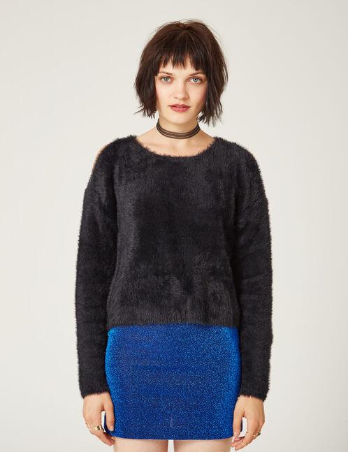 Black cold shoulder jumper