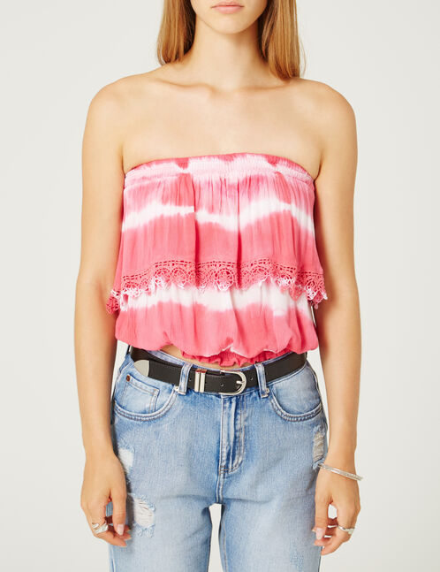 bustier tie and dye blanc et rose