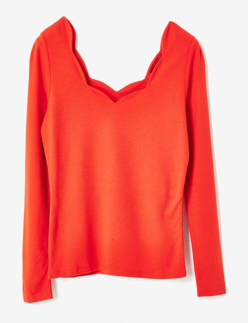 tee-shirt encolure festonnée rouge