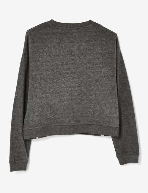 Charcoal grey marl sweatshirt with side tie detail