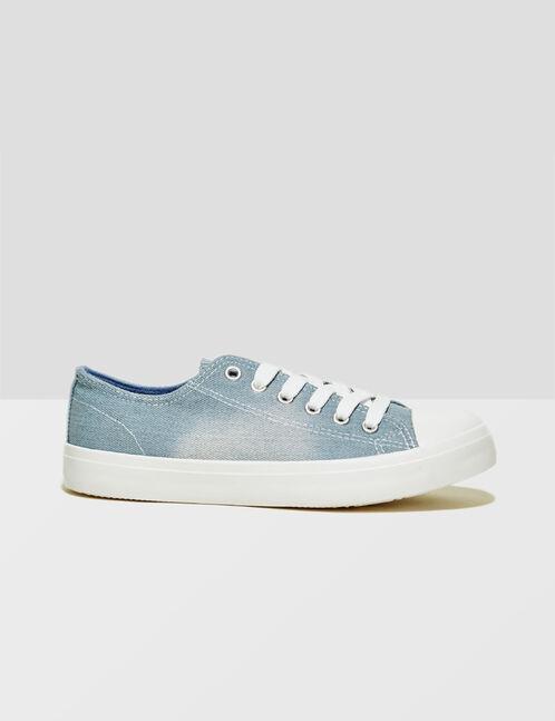 Sky blue denim trainers