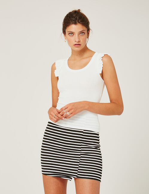 Black and white striped asymmetric tube skirt
