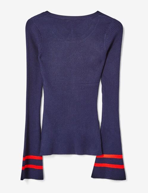 pull à patch bleu marine