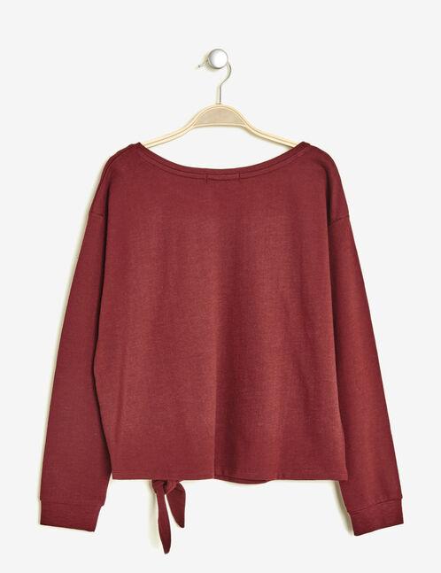 Burgundy mixed print tie-fastening sweatshirt