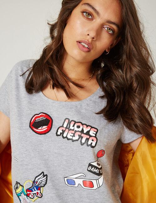Grey marl mixed print T-shirt