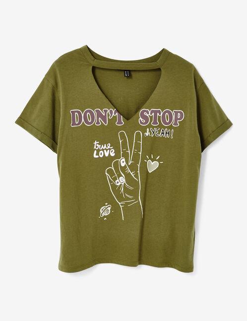 Khaki T-shirt with text design detail
