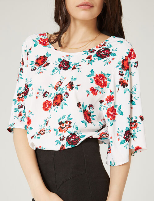 White rose print blouse