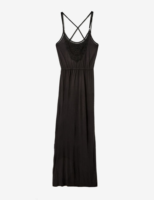 Black maxi dress with lace detail