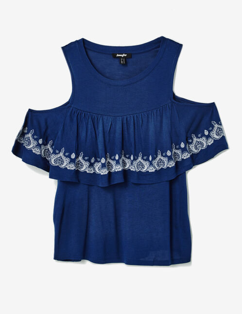 Navy blue T-shirt with embroidery detail