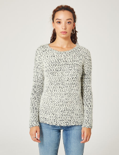 Black and cream popcorn knit and lurex jumper