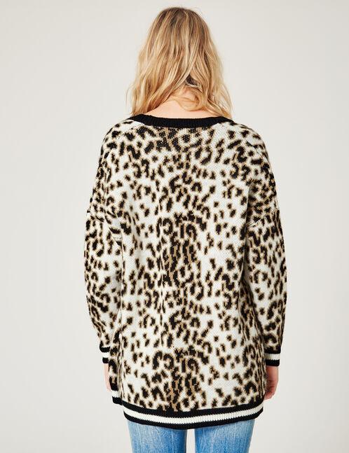 gilet léopard écru
