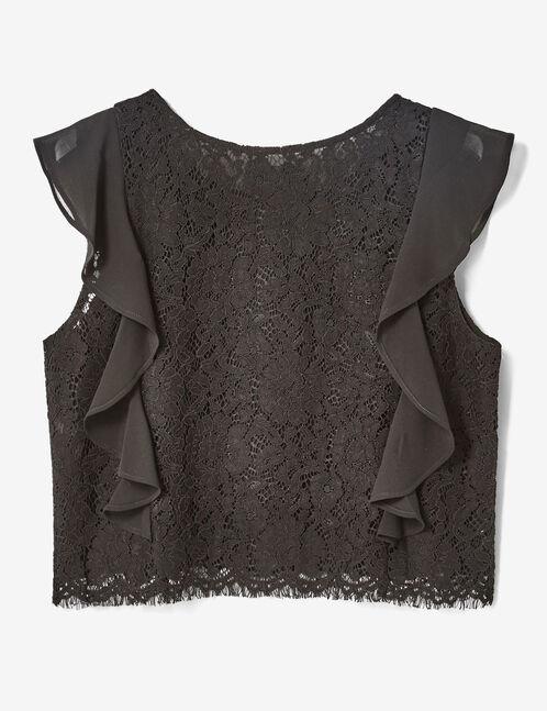 Black lace crop top
