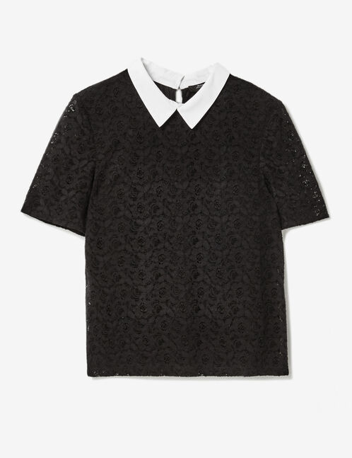 Black lace blouse with white collar detail