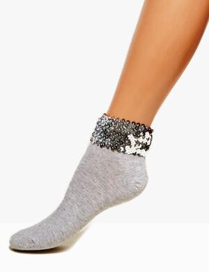 chaussettes revers sequins grises et argentées