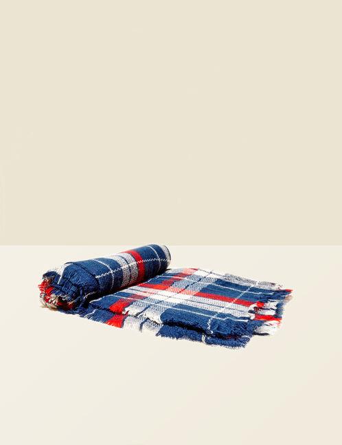 écharpe à carreaux bleu marine, beige et rouge