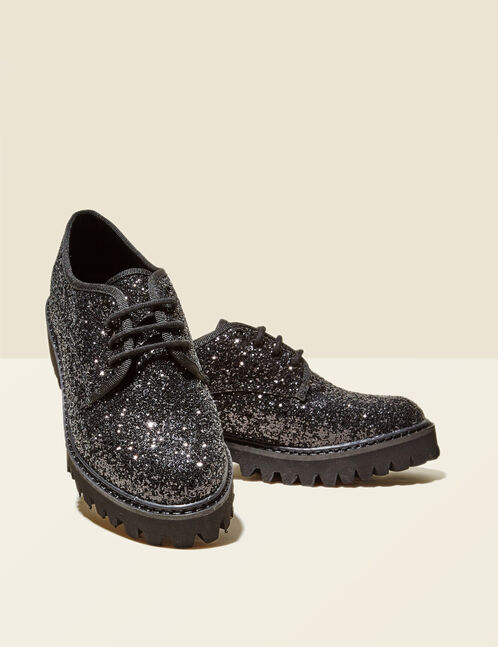 Black sparkly derby shoes
