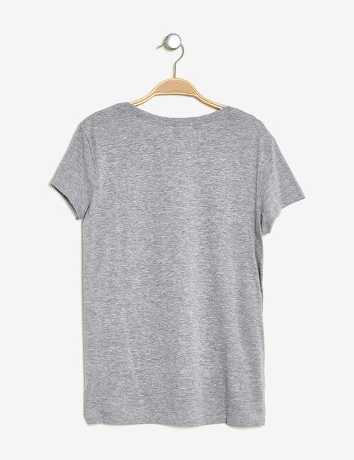 tee-shirt imprimé gris chiné