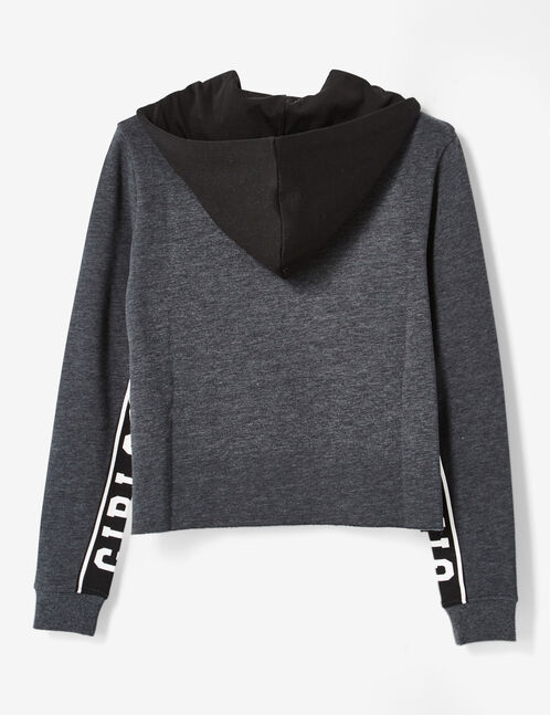 Charcoal grey marl cropped hoodie with text design detail