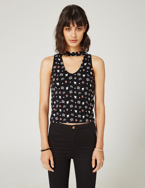 Black tank top with cut-out detail