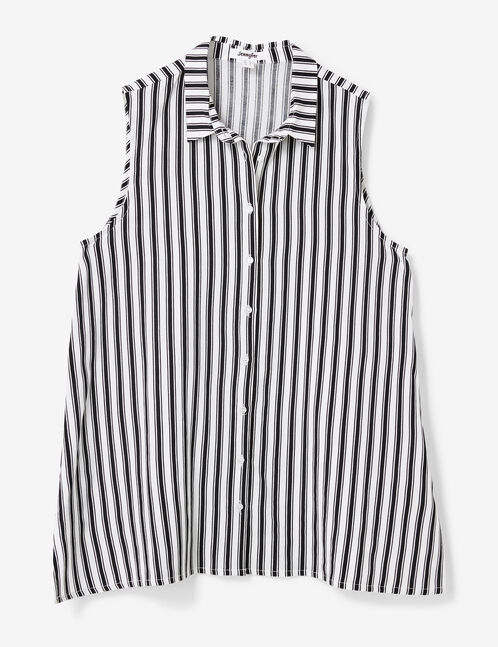 Long white and black striped blouse