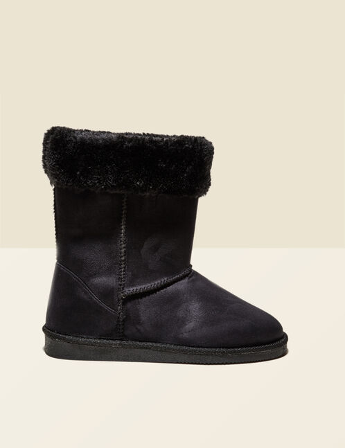 Black fur-lined fold-down boots