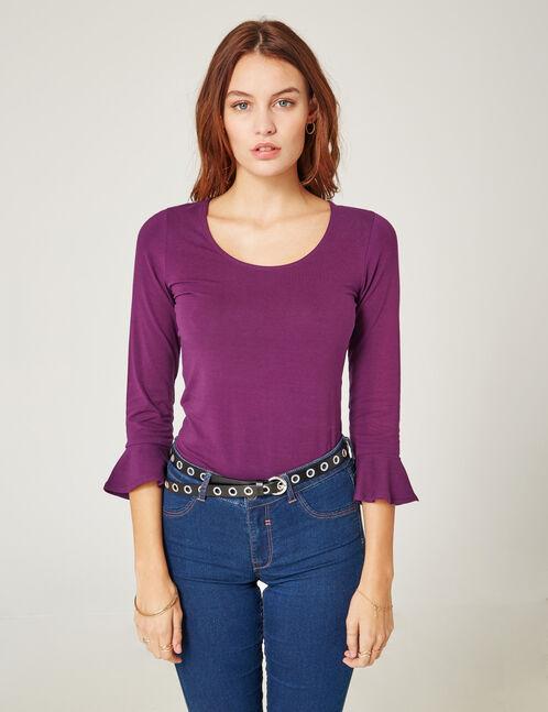Purple top with pagoda sleeves