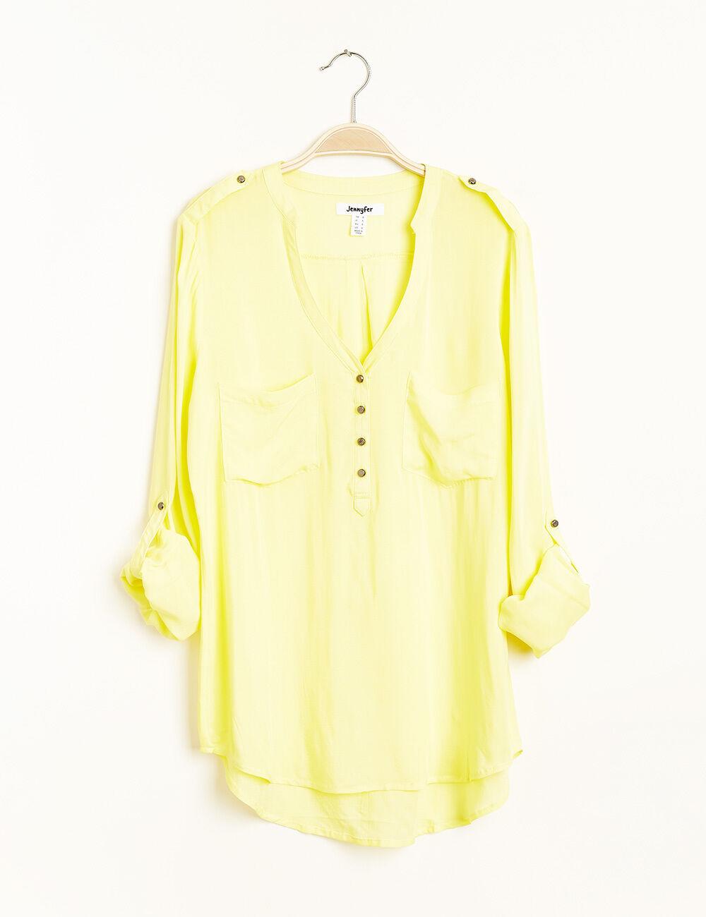 chemise col v jaune femme jennyfer. Black Bedroom Furniture Sets. Home Design Ideas